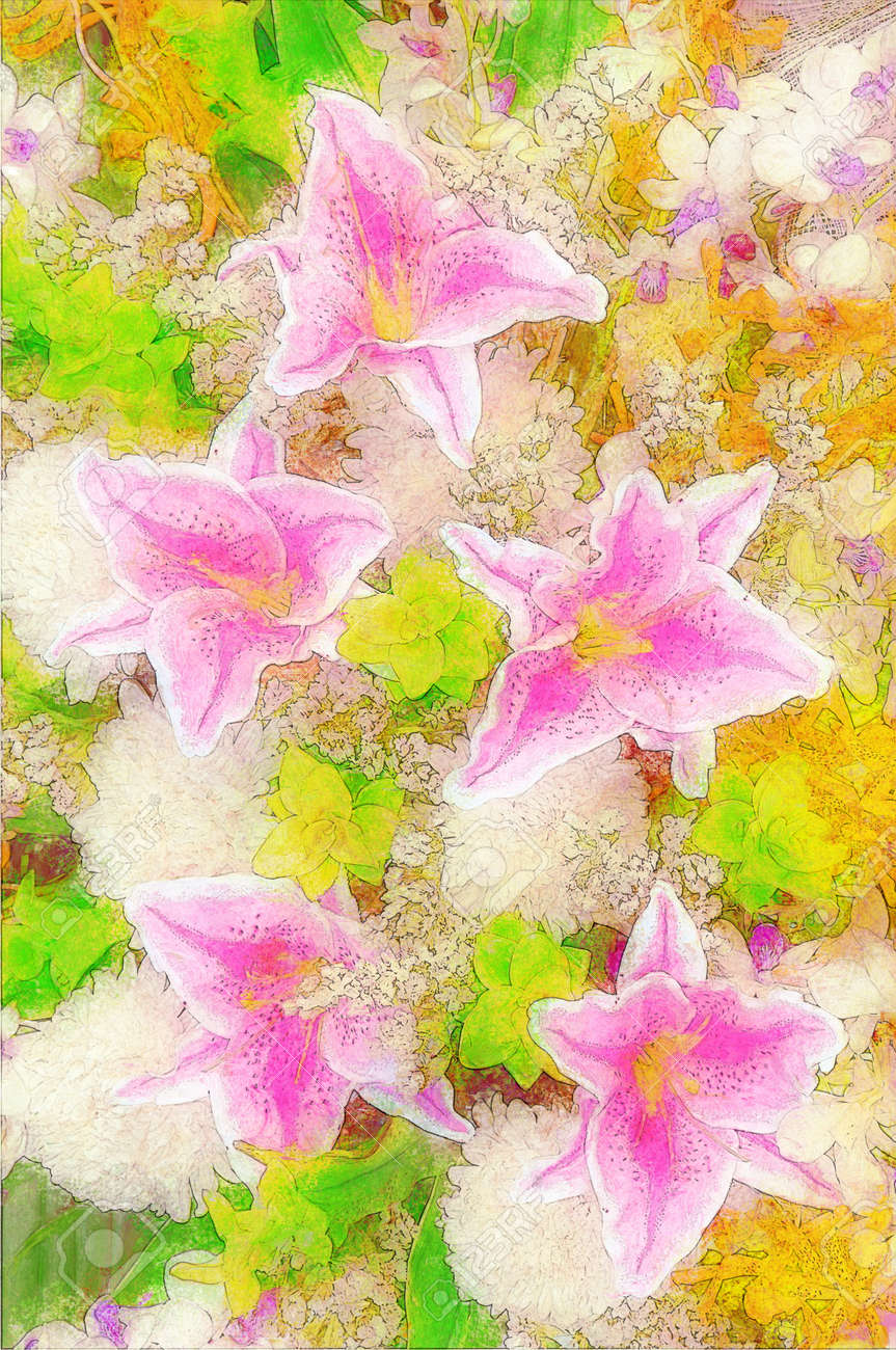 Painting of a group of pink iris flowers stock photo picture and painting of a group of pink iris flowers stock photo 27564338 izmirmasajfo