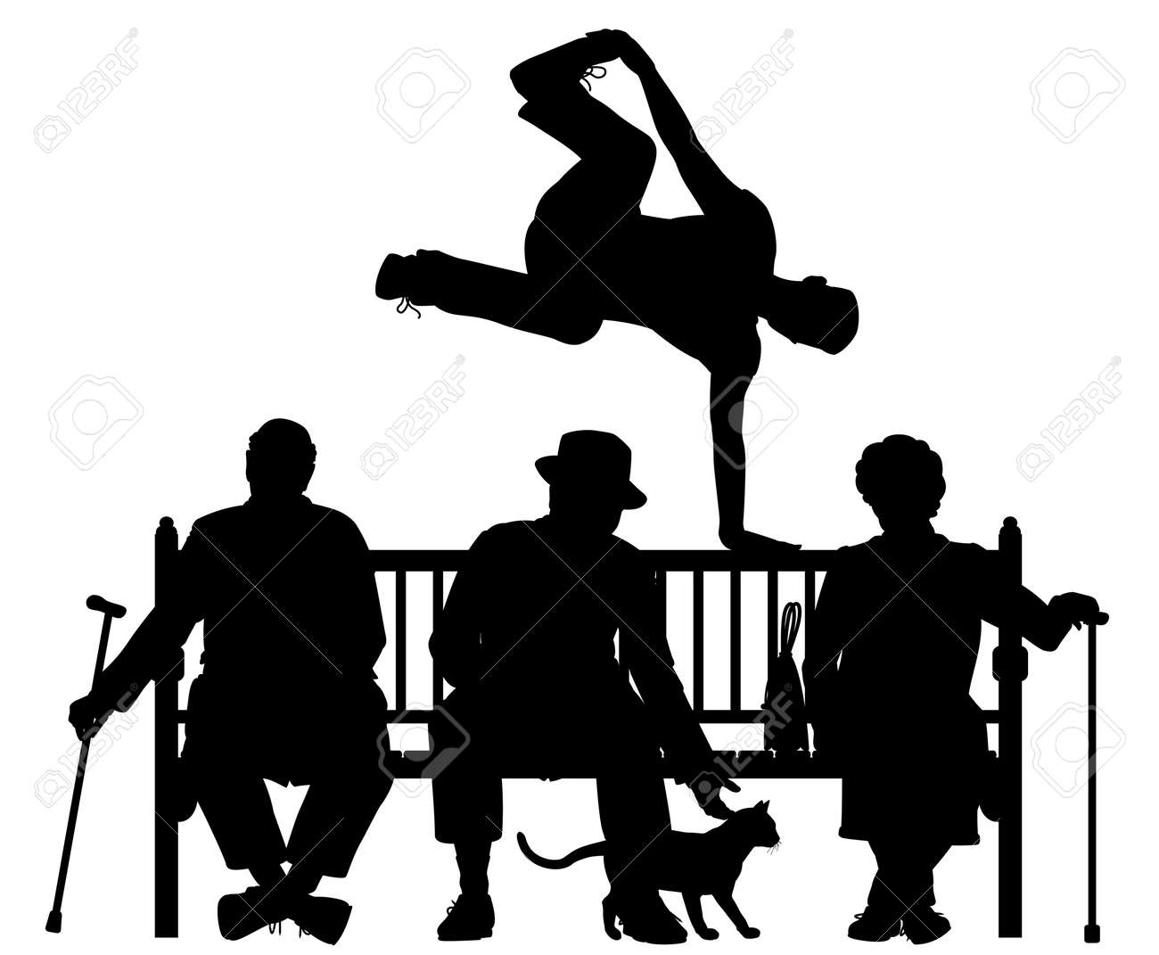 Editable Vector Silhouette Of A Young Man Vaulting Over Three ... for People On Bench Silhouette  45gtk