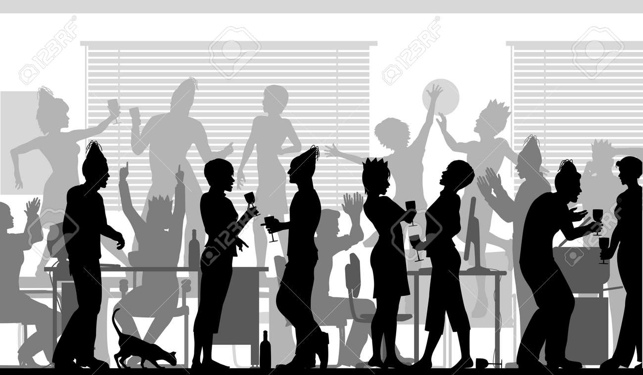 editable vector silhouettes of business people at an office party editable vector silhouettes of business people at an office party all elements as separate objects