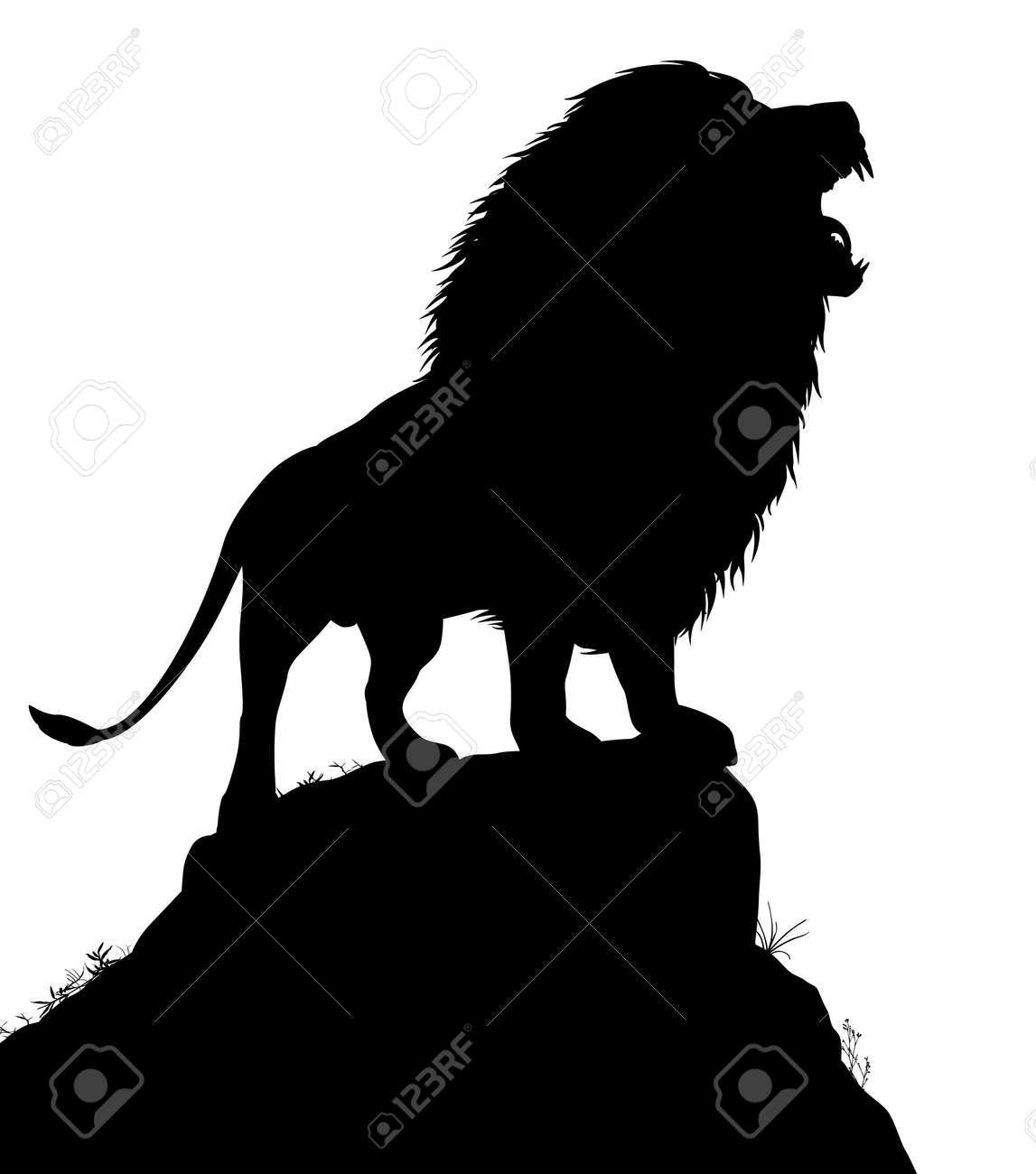 Editable vector silhouette of a roaring male lion standing on a rocky outcrop with lion as a separate object - 30030580