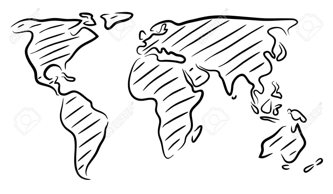 editable vector rough outline sketch of a world map stock vector 30828656