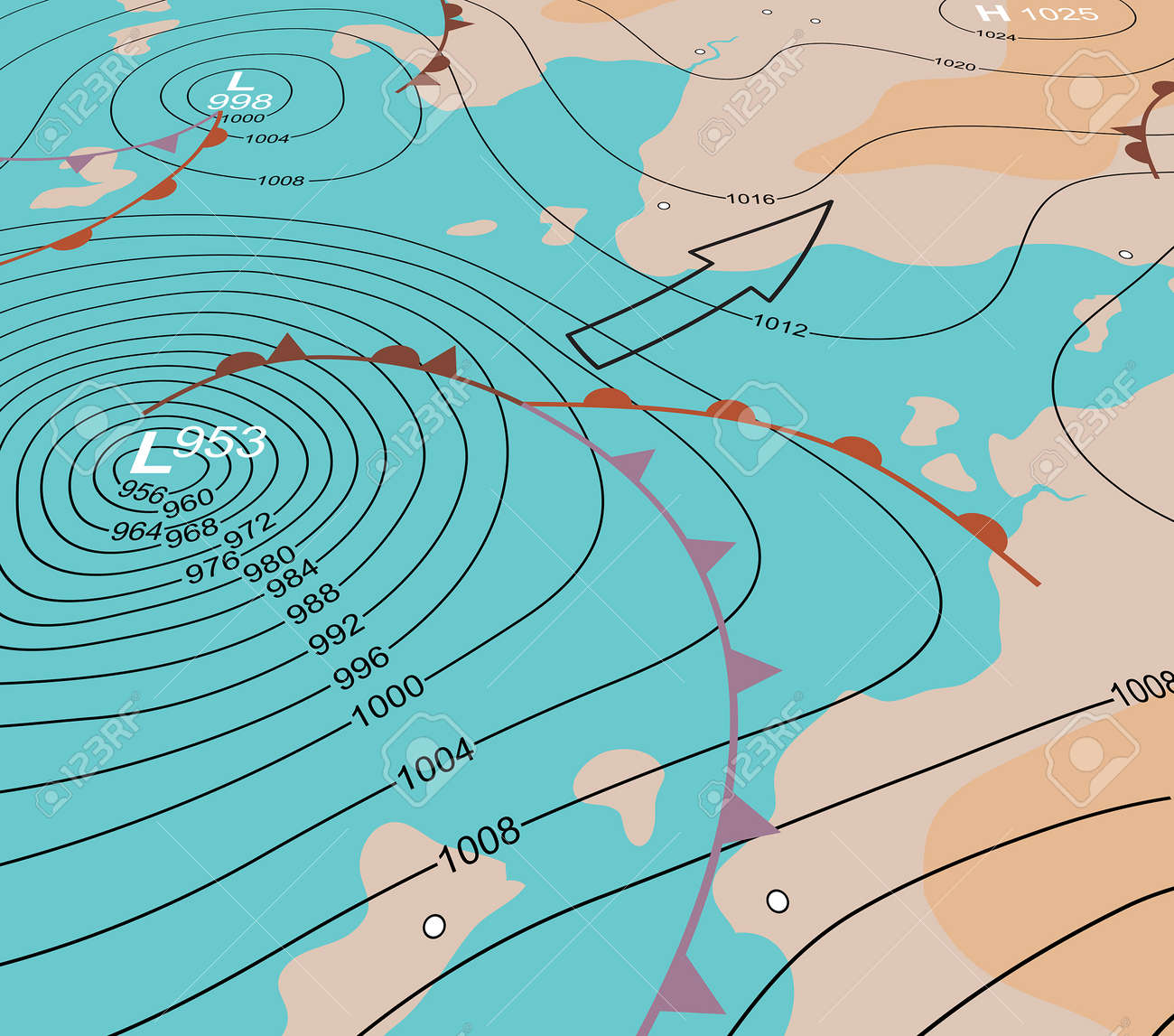 Editable Vector Illustration Of An Angled Generic Weather Map - Us weather map showing fronts