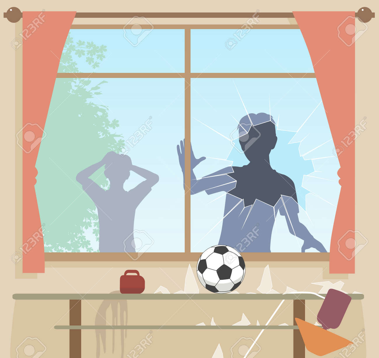 EPS8 editable vector illustration of boys breaking a window with a football - 46079636