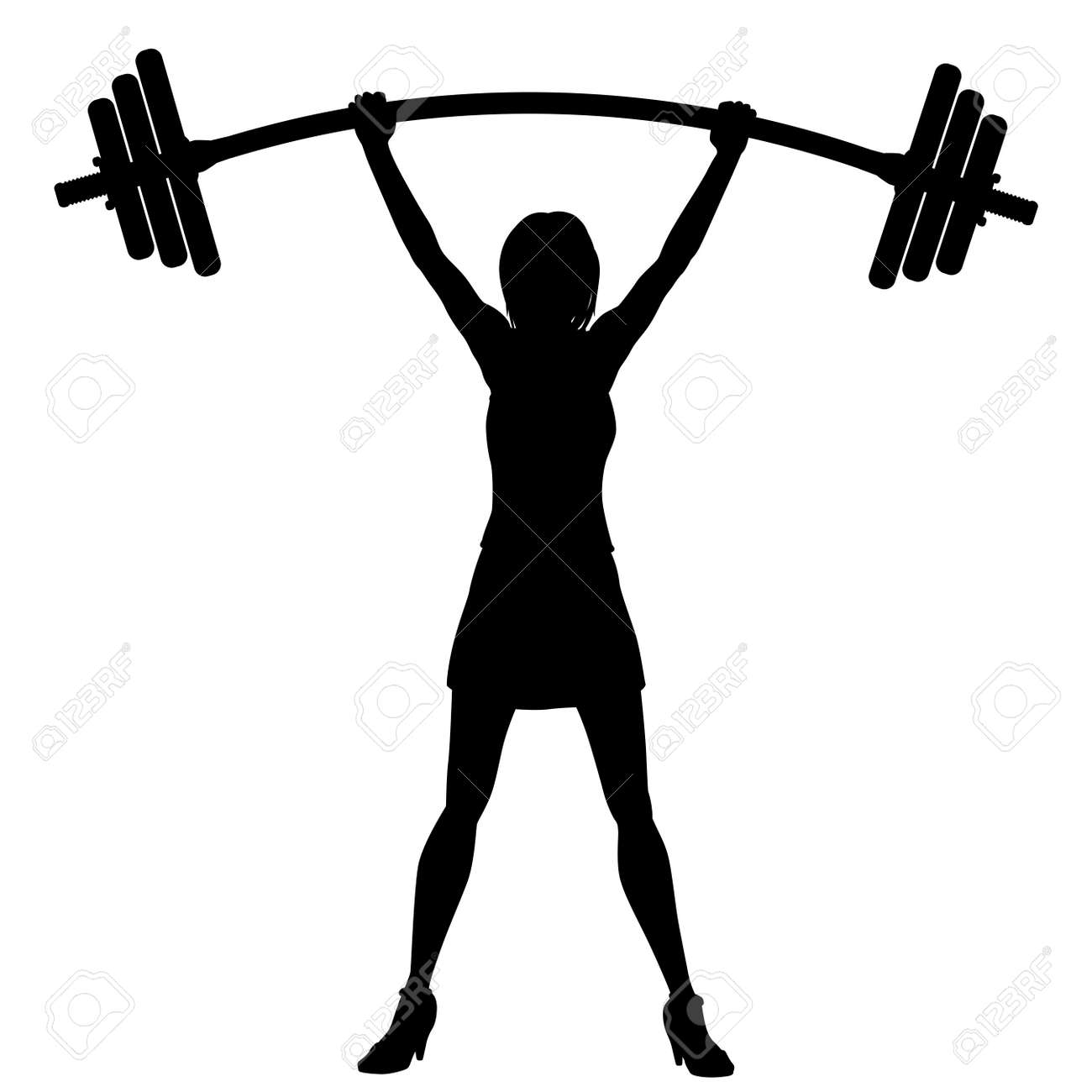 eps8 editable vector silhouette of a woman easily lifting a heavy weight barbell stock vector