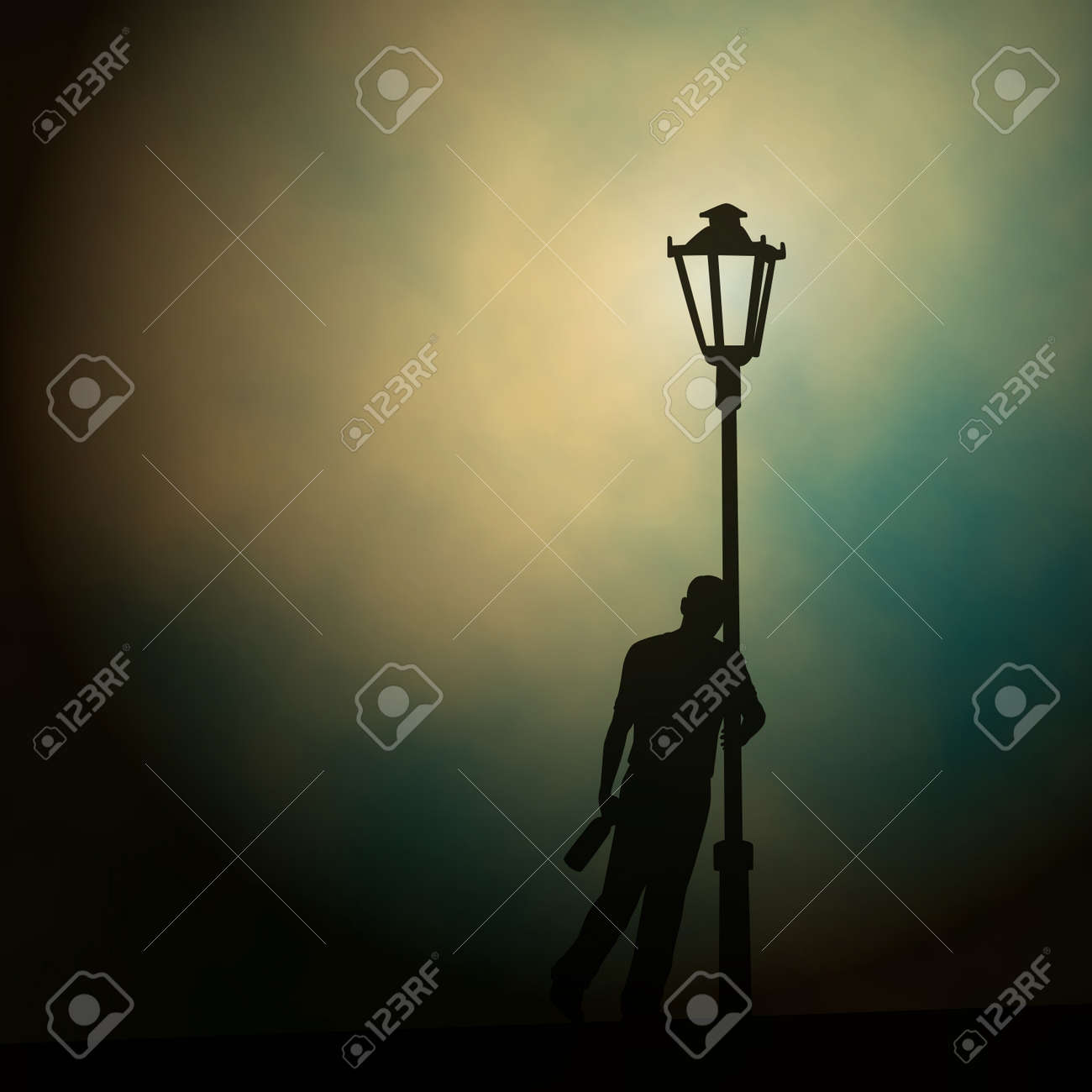 Illustration Of A Drunken Man Leaning Against A Lamp Post At