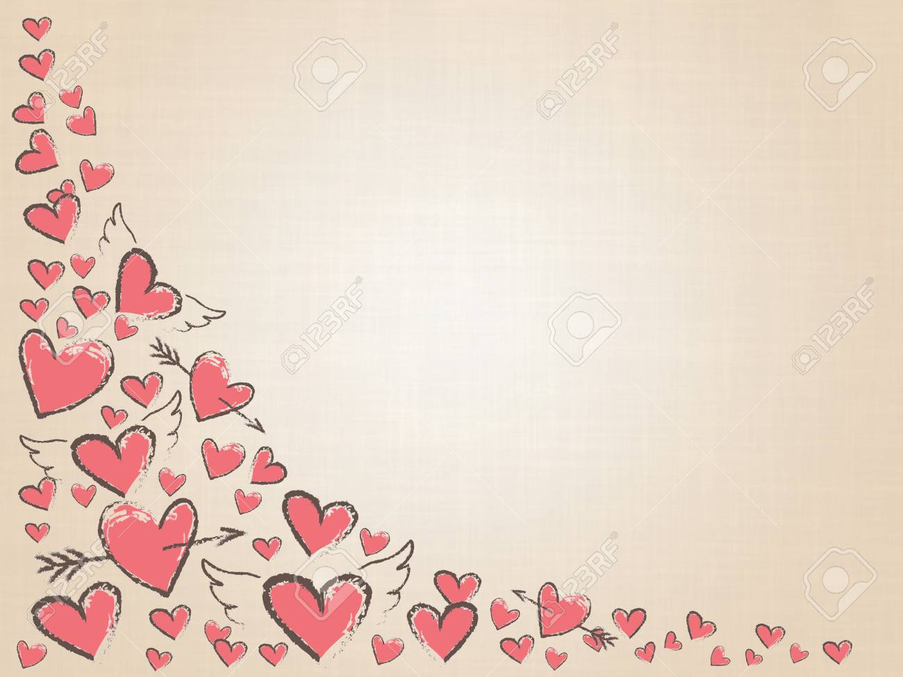 beautiful love hearts on vintage background. valentine day