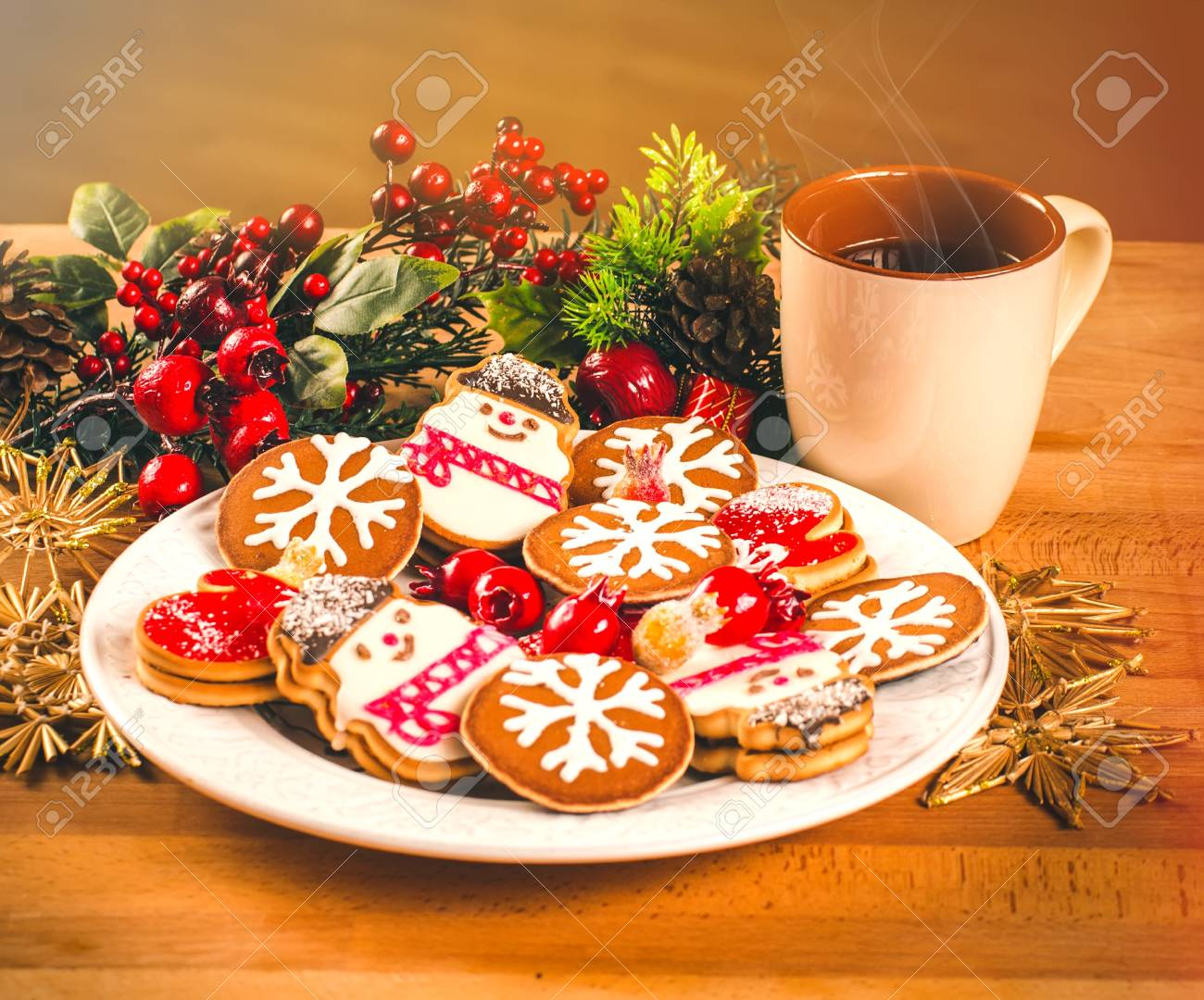 Mug With Hot Drink And Christmas Cookies Background With A Cup