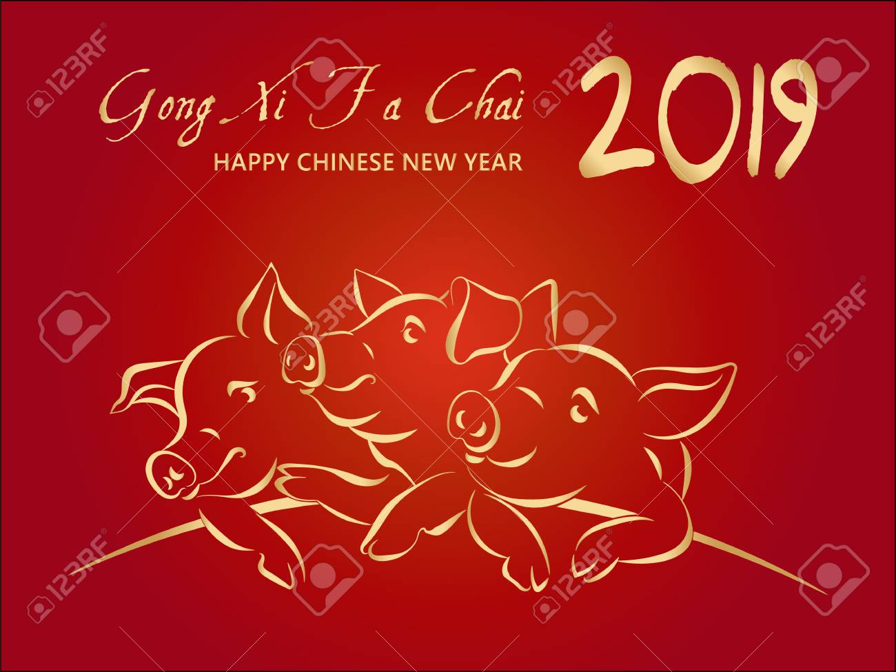 2019 happy chinese new year greeting card with 3 gold pigs translation gong xi