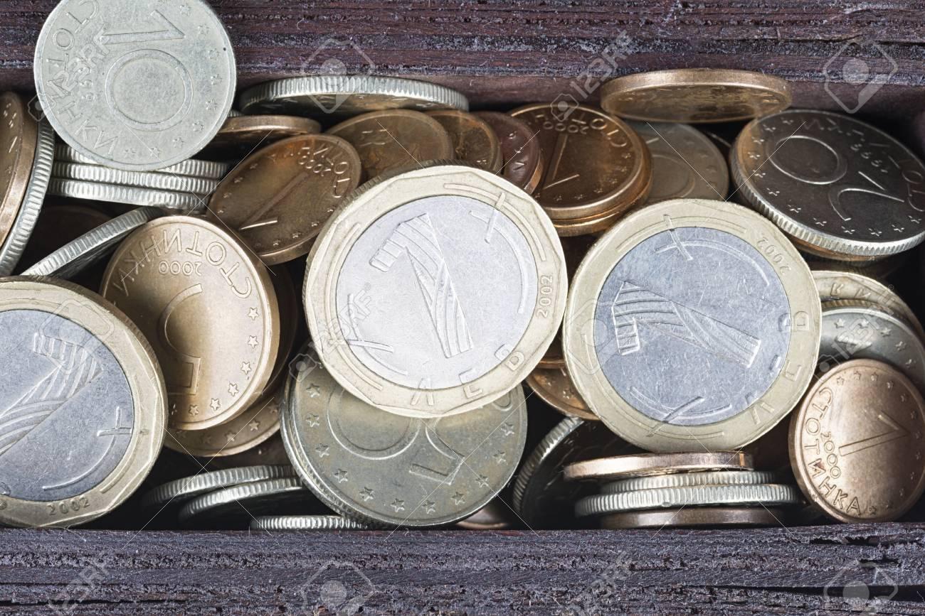 Bulgarische Münzen In Holzkiste Lizenzfreie Fotos Bilder Und Stock