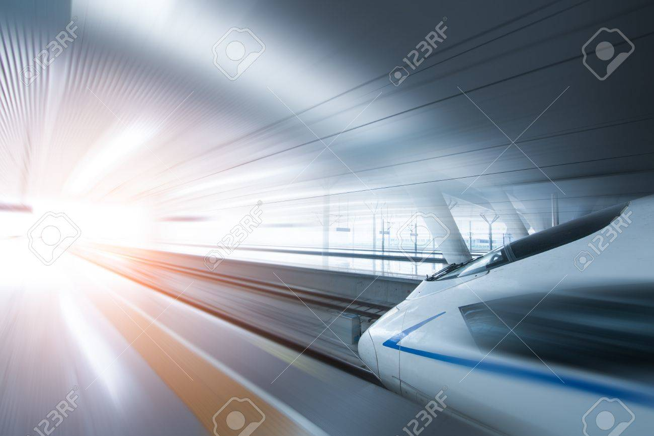 Super streamlined high speed train station tunnel with motion light effect background realistic poster print vector illustration - 60735310