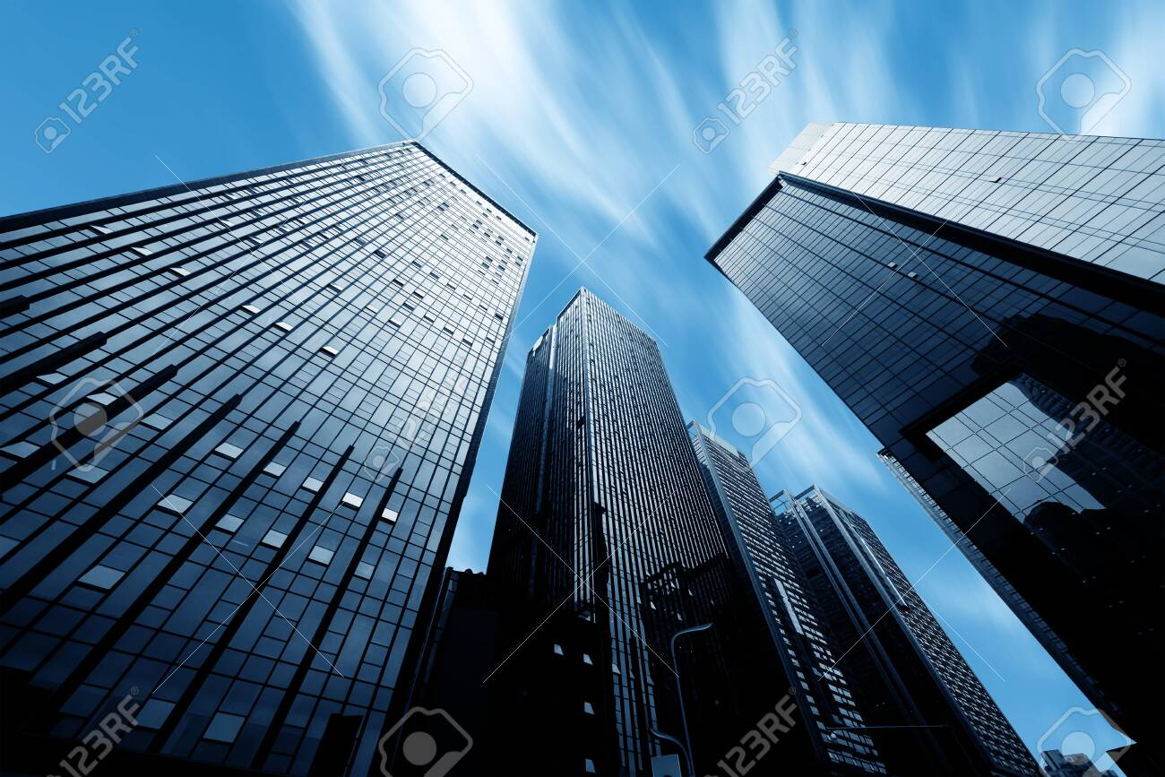 Modern buildings in downtown and blue sunlight - 135176114
