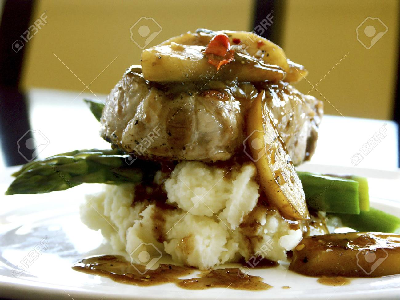 Roast pork loin with apple compote Stock Photo - 8278825