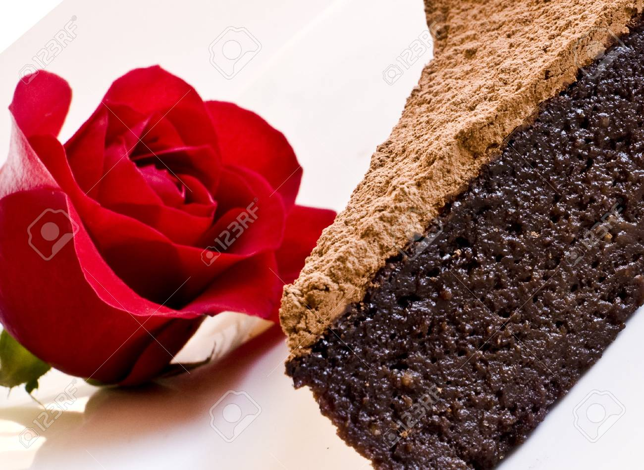 Chocolte hazelnut cake with rose Stock Photo - 8278834