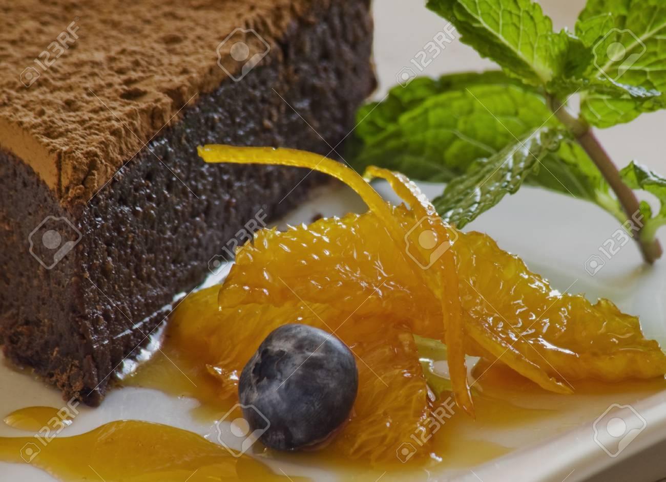 Chocolte hazelnut cake with garnish Stock Photo - 8278833