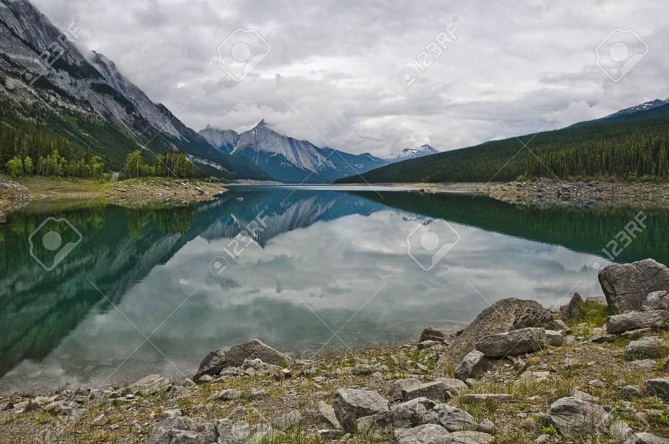 maligne lake reflection Stock Photo - 8278872