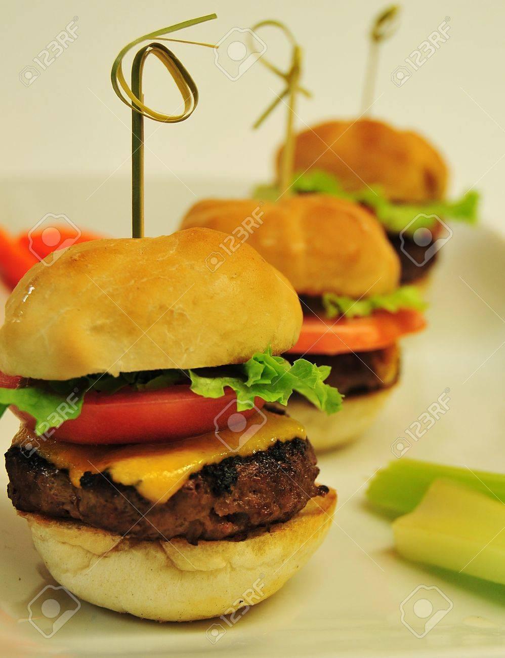 mini burgers close up Stock Photo - 8653912