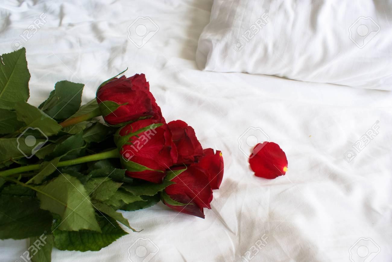 Bed Met Rozen.Boeket Van Rode Rozen Op Een Witte Bed