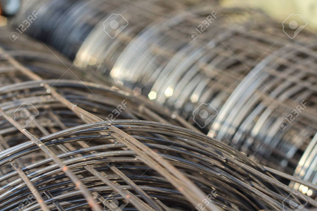 Steel Wire Mesh Construction . Structural Steel And Cement Stock ...