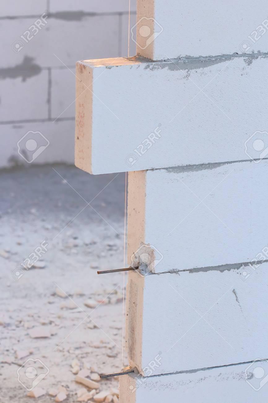 Stock Photo   The Construction Of Lightweight Concrete Block Arrangements .