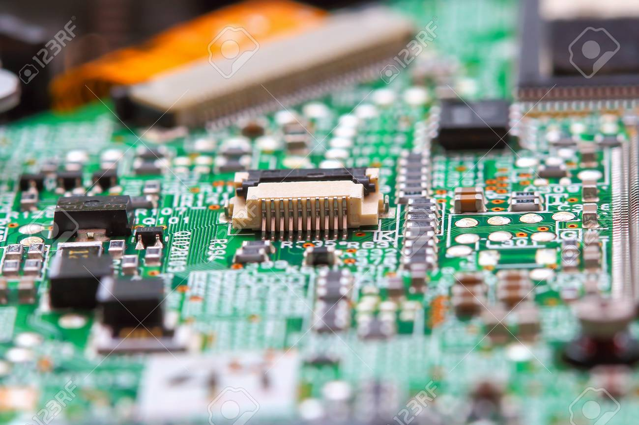 Closeup Electronic Circuit Board Background Stock Photo Picture Up Close 64575358
