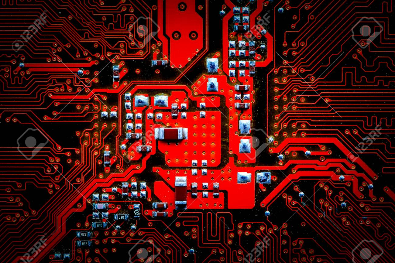 Closeup Electronic Circuit Board Background Computer Hardware With Electronics Components Royalty Free Stock Photo 66339164