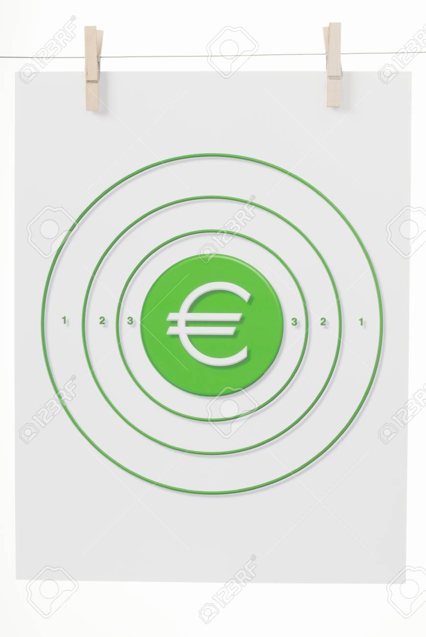 The Euro Monetary Symbol In The Bulls Eye Of A Paper Target Hanging ...