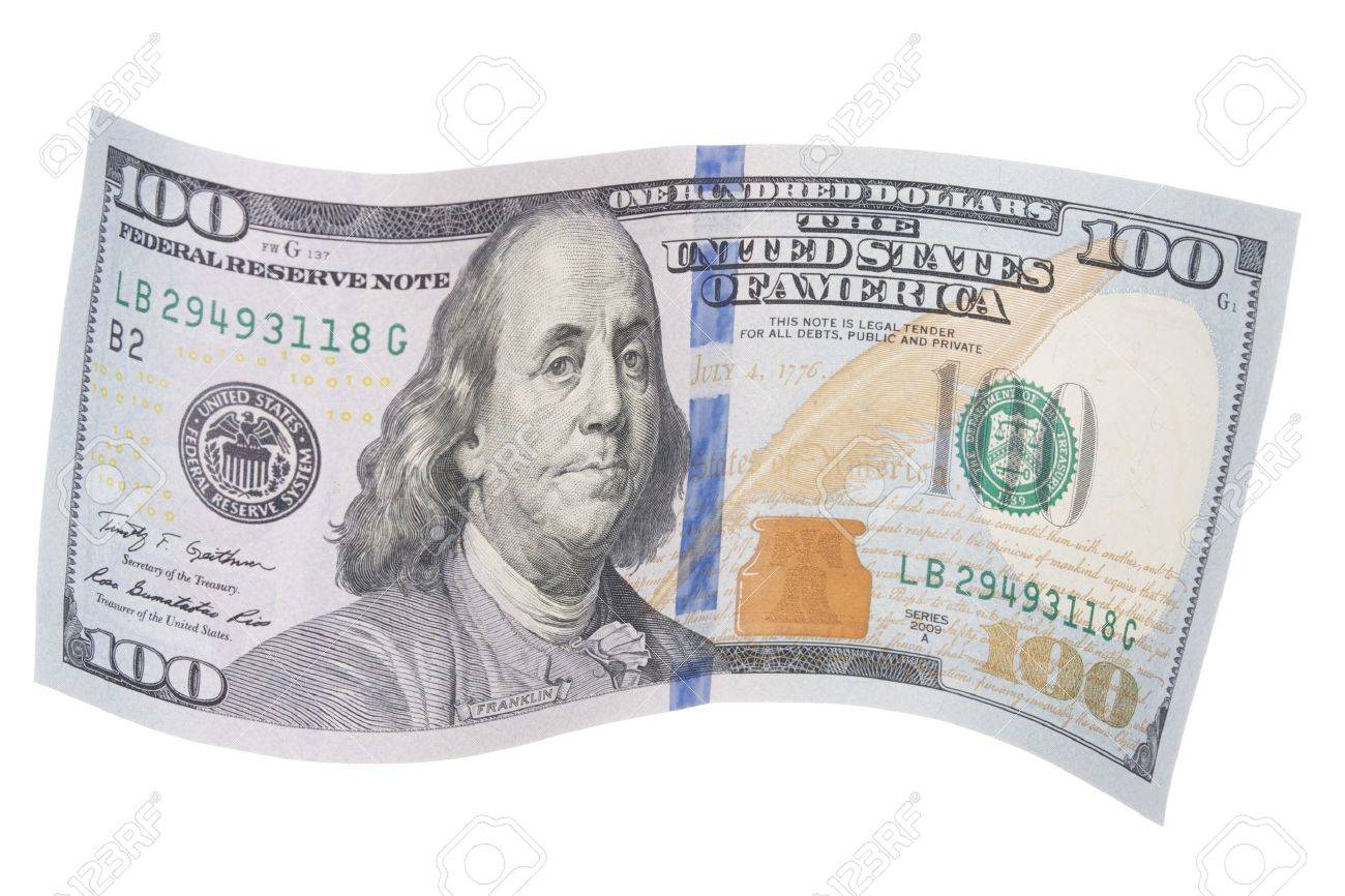 New United States One Hundred Dollar Bill In A Wavy Shape Stock ...