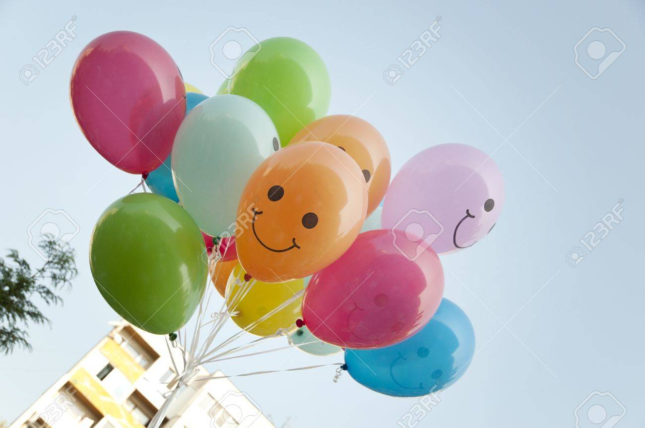 Colorful helium balloons in the sky Stock Photo - 10600619
