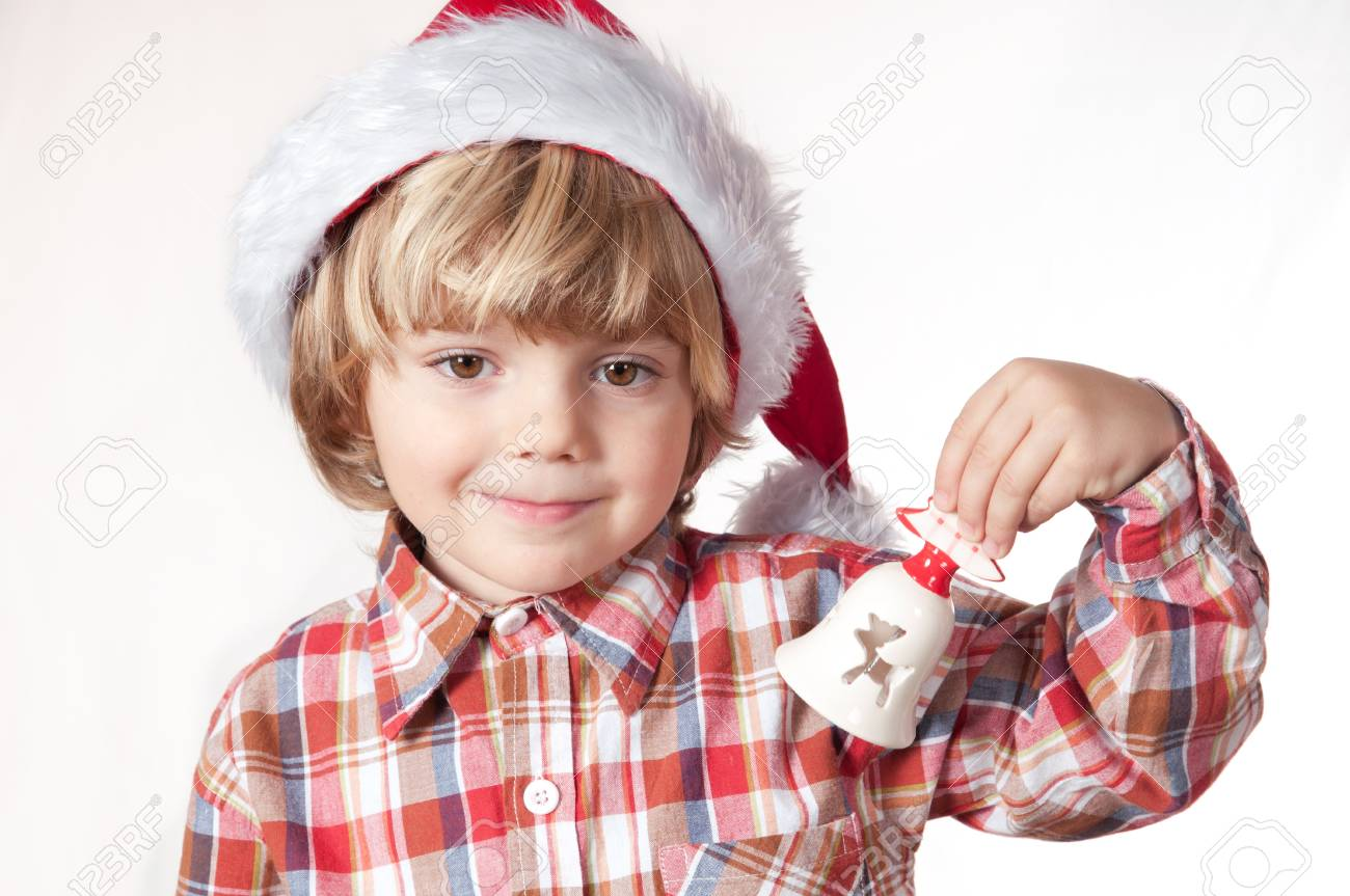Blond boy with Santa hat and a bell Stock Photo - 11151118