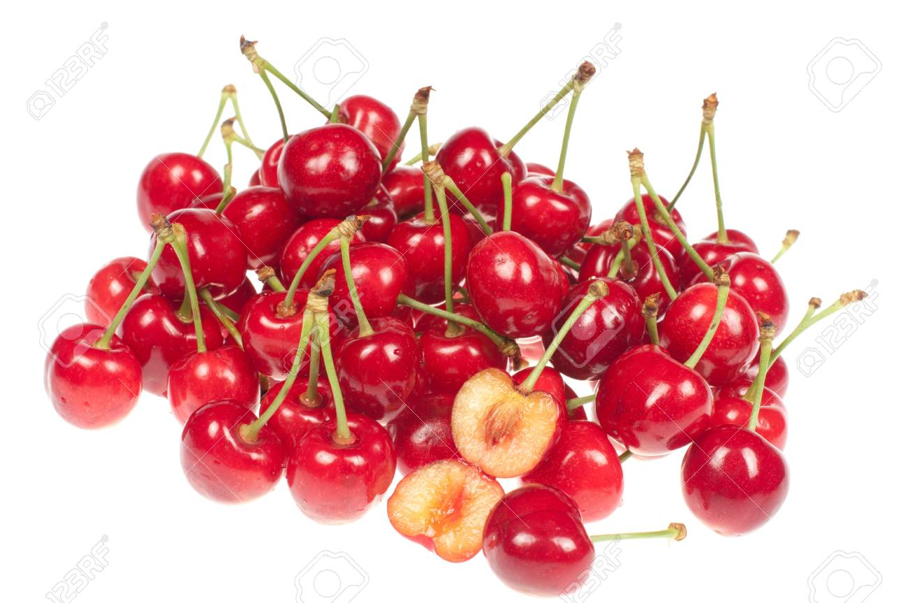 Cherries on a white background Stock Photo - 14125789