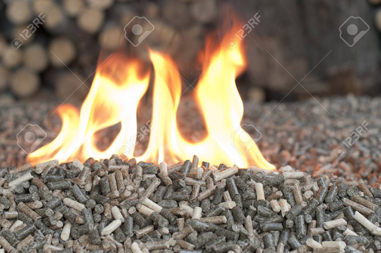 Different kind of pellets in a flames Stock Photo - 15062527