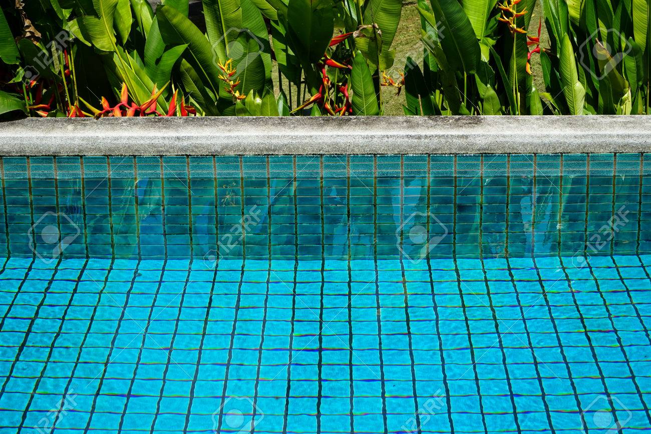 Swimming pool clear water showing turquoise blue clay square..