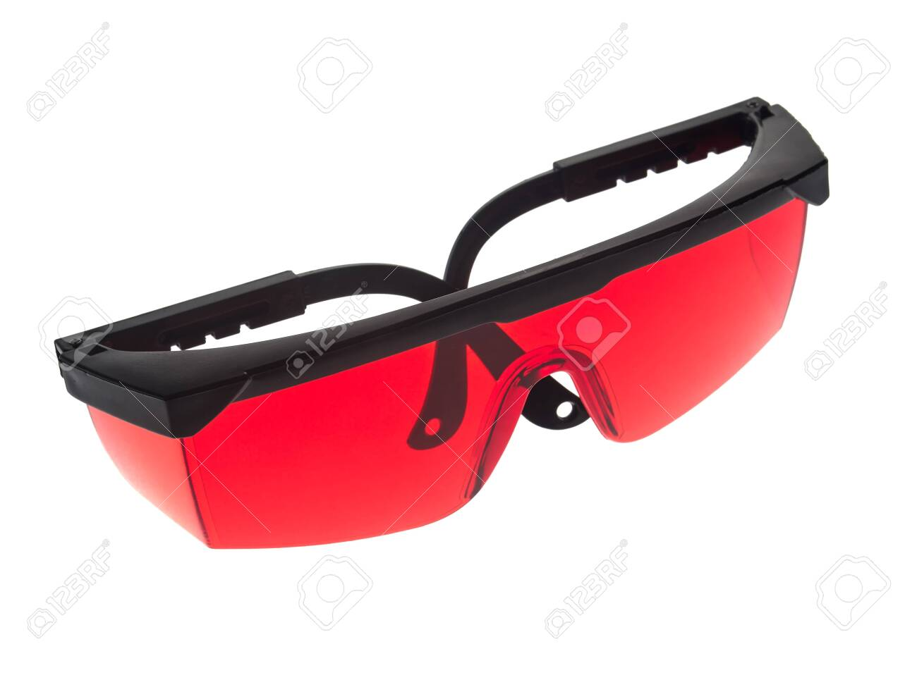 Red glasses used to increase the visibility of the laser beam of a laser level - 153108029