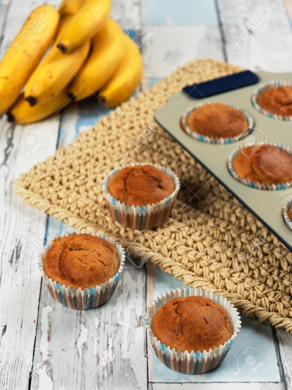 Homemade banana muffins. No sugar added. Healthy toddler food - 169668301