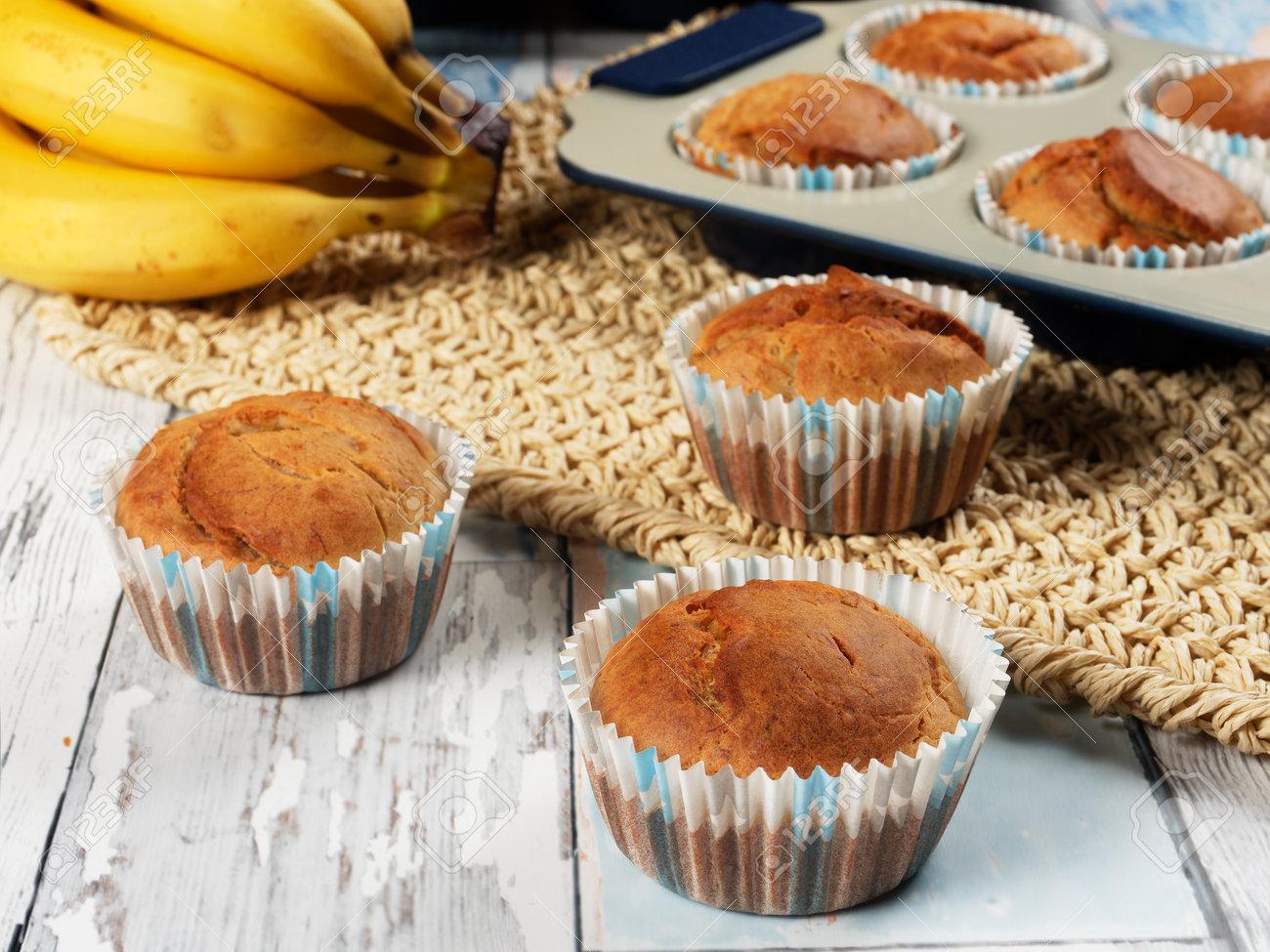 Homemade banana muffins. No sugar added. Healthy toddler food - 169668307