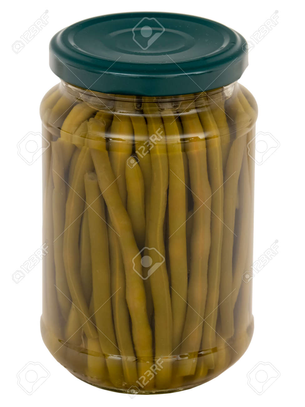 A jar of green beans isolated on white background - 169668316