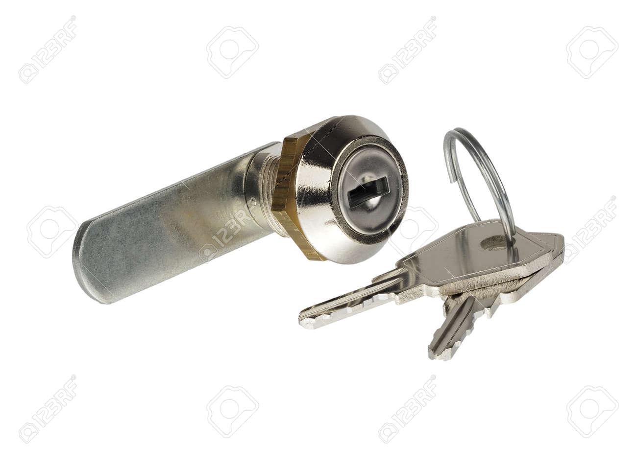 Letterbox locking cylinder and keys isolated on white background - 171081066