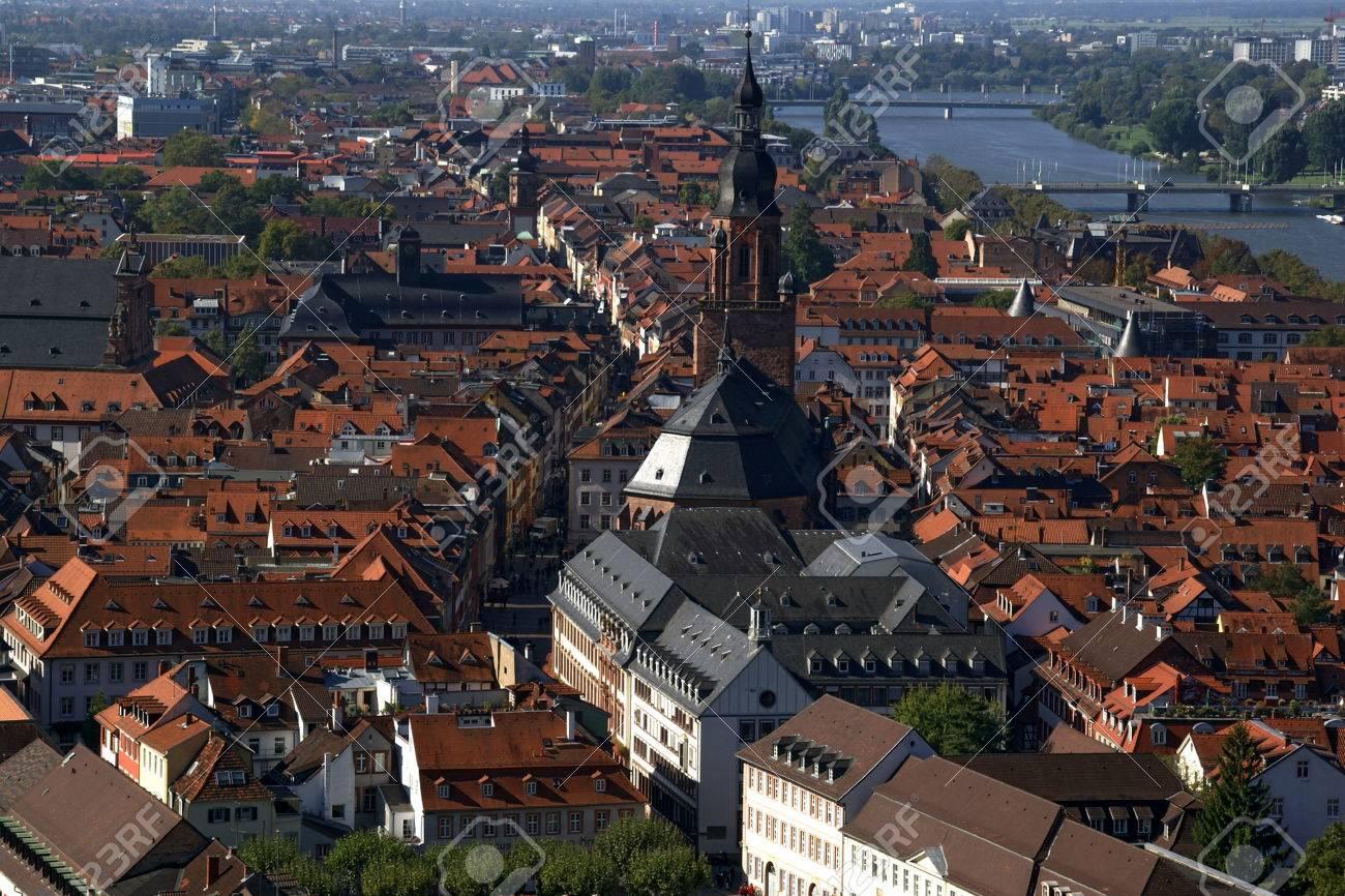 Fotografie Heidelberg aerial view of heidelberg germany looking from the castle