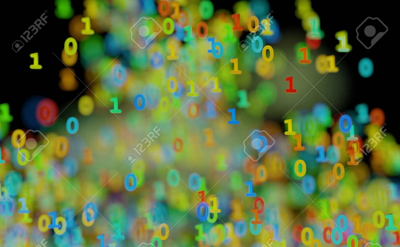 Binary Cloud Data Color Numbers 3d Illustration Stock Photo, Picture ...