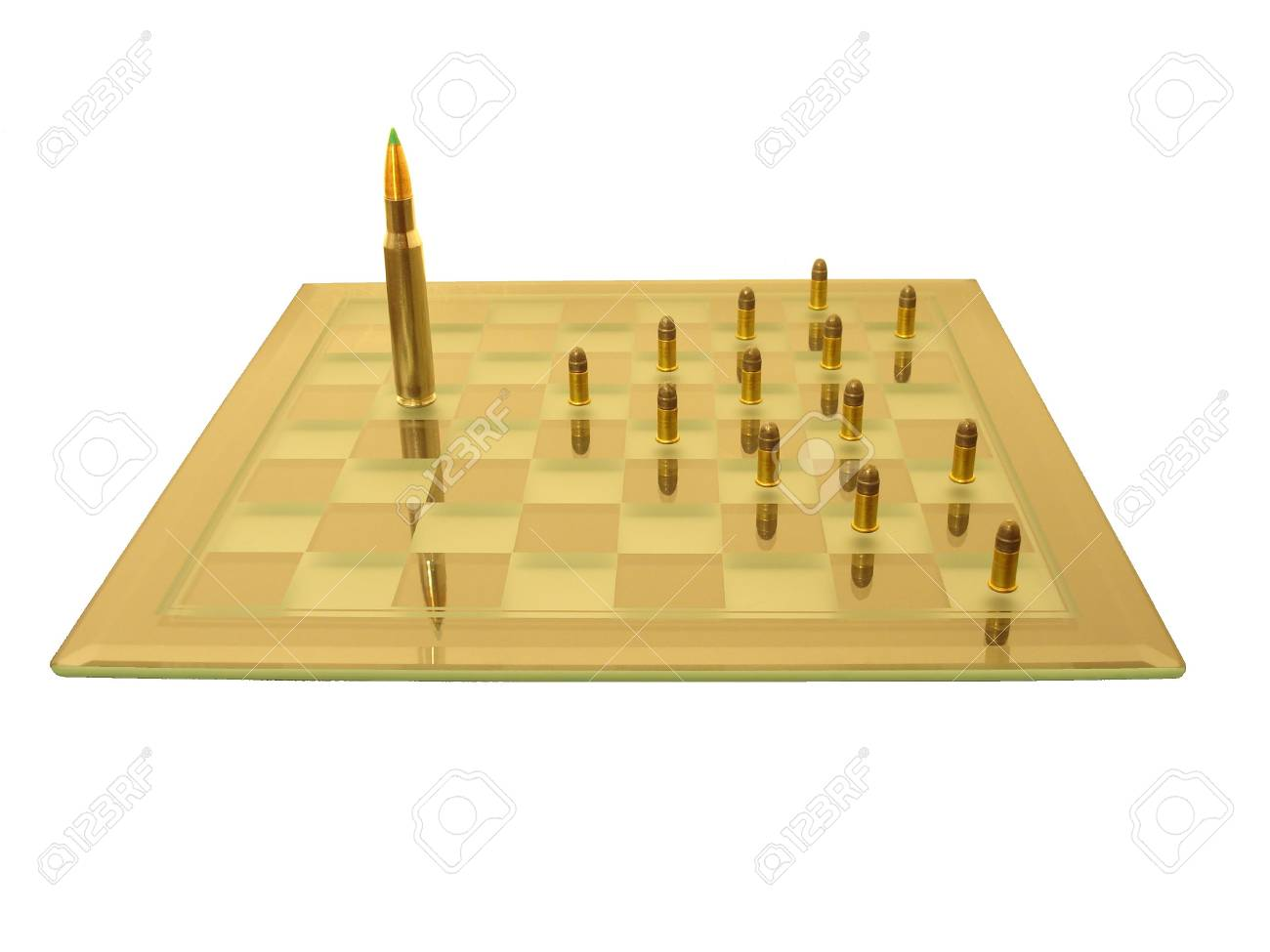 The king fights the pawns on the chess board (isolated). Stock Photo - 3578979