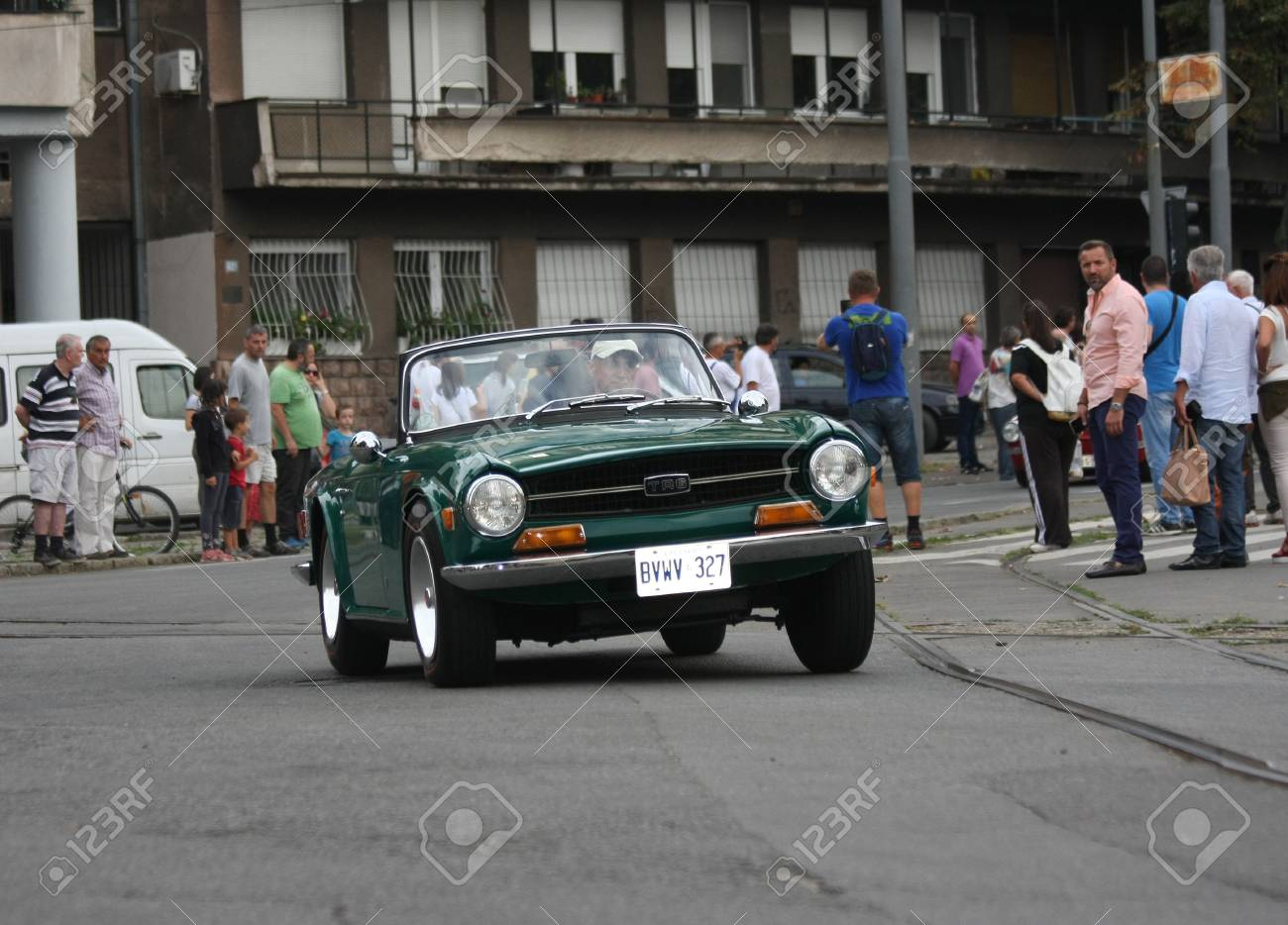 BELGRADE,SERBIA - SEPTEMBER 10 , 2016: Old Triumph TR6 at the