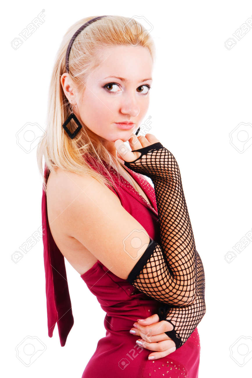 Picture of a beautiful adorable young girl in red dress Stock Photo - 6134141