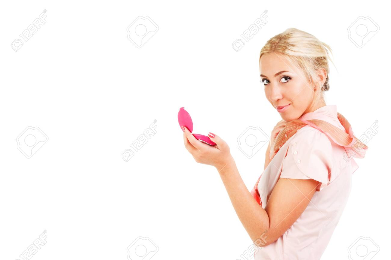 Picture of a young sweet pretty girl with powder box on white background. Stock Photo - 6592671