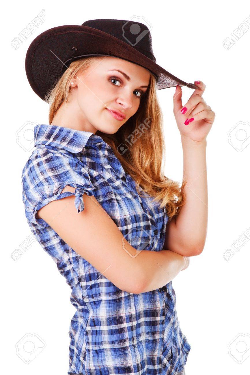 Picture of a charming lady in cowboy hat on white background Stock Photo -  7847875 3e5a5009a25a