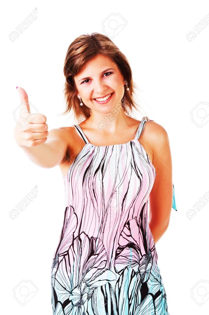 Portrait of a adorable young girl in dress on white background Stock Photo - 7940675