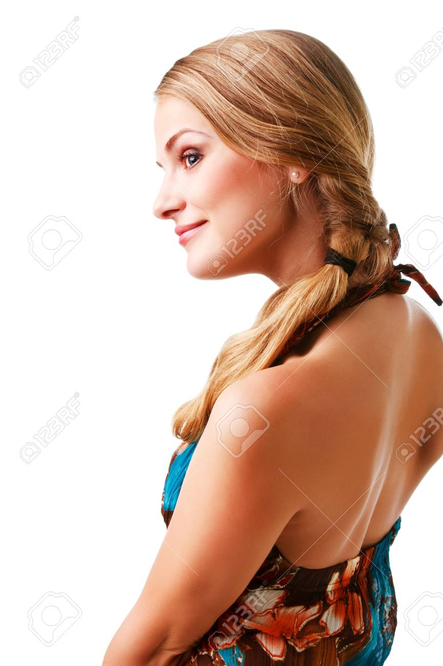 Picture of a charming young lady in colorful dress on white background - 8037981
