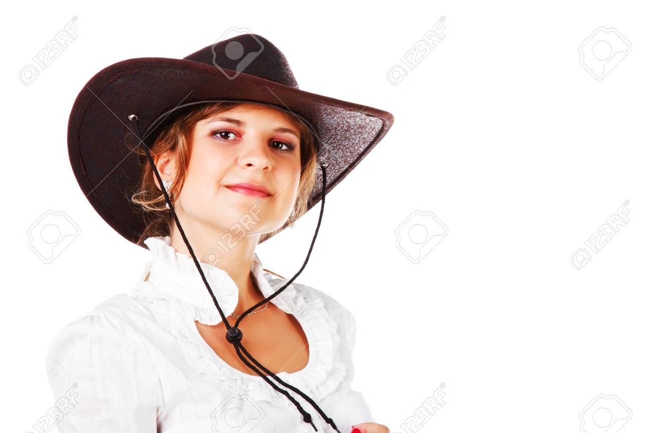 41d7a696d8b39 Banque d images - Portrait d une adorable jeune fille au chapeau de cowboy  sur fond blanc