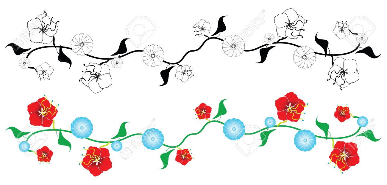 Two Versions Of A Vector Illustration Design Of A Floral Vine