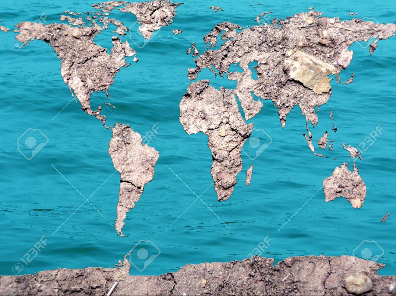 Conceptual Photo Manipulation Of A Global Map Of Dry And Flooded - Flooded earth map