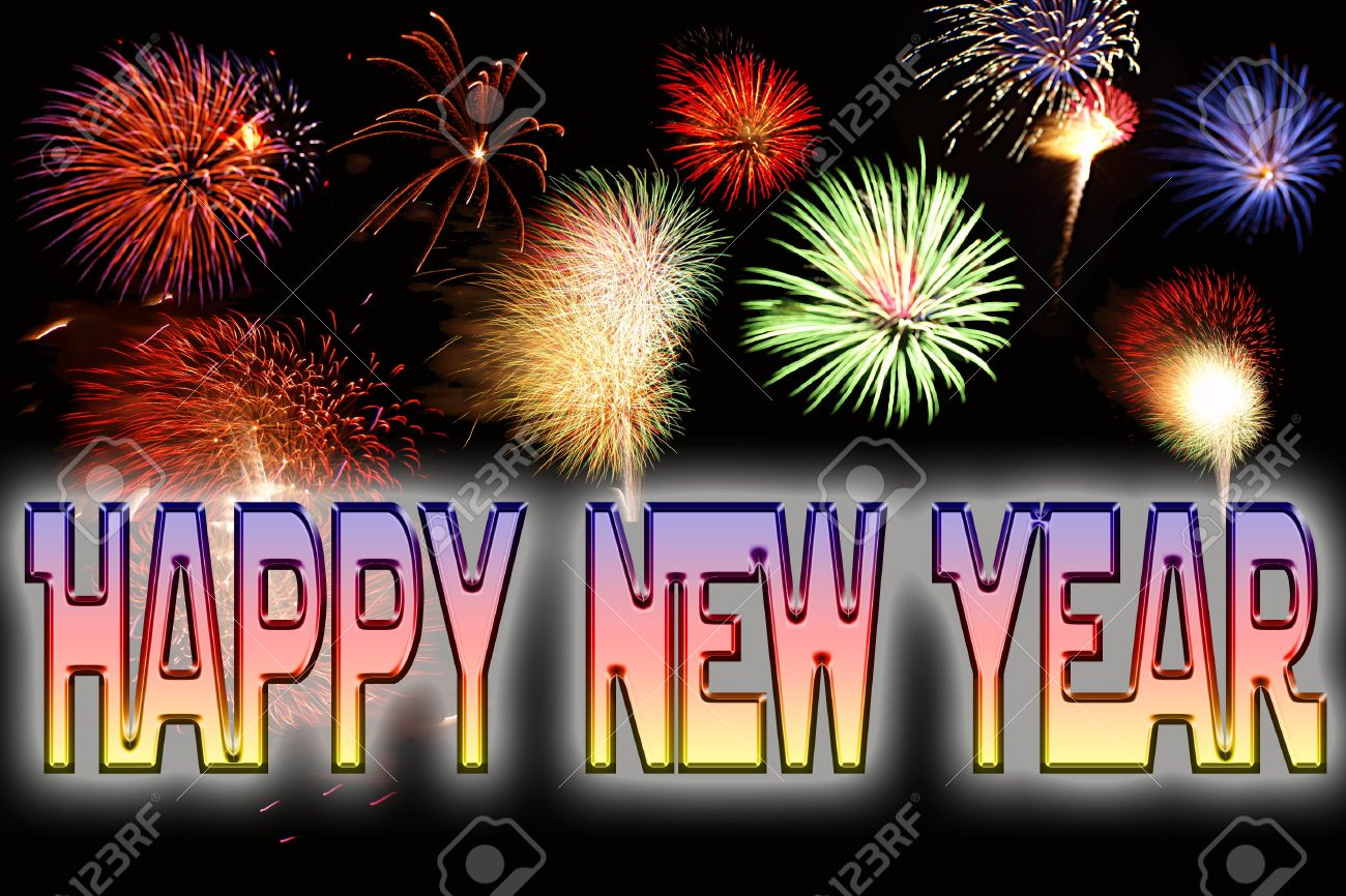 Happy New Year Text And Fireworks New Years Eve Celebrations Stock ...